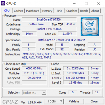 Lenovo Legion y540 CPU