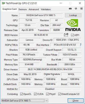 Lenovo Legion y540 GPU
